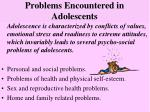 problems encountered in adolescents