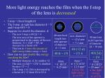 more light energy reaches the film when the f stop of the lens is decreased