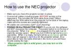 how to use the nec projector4