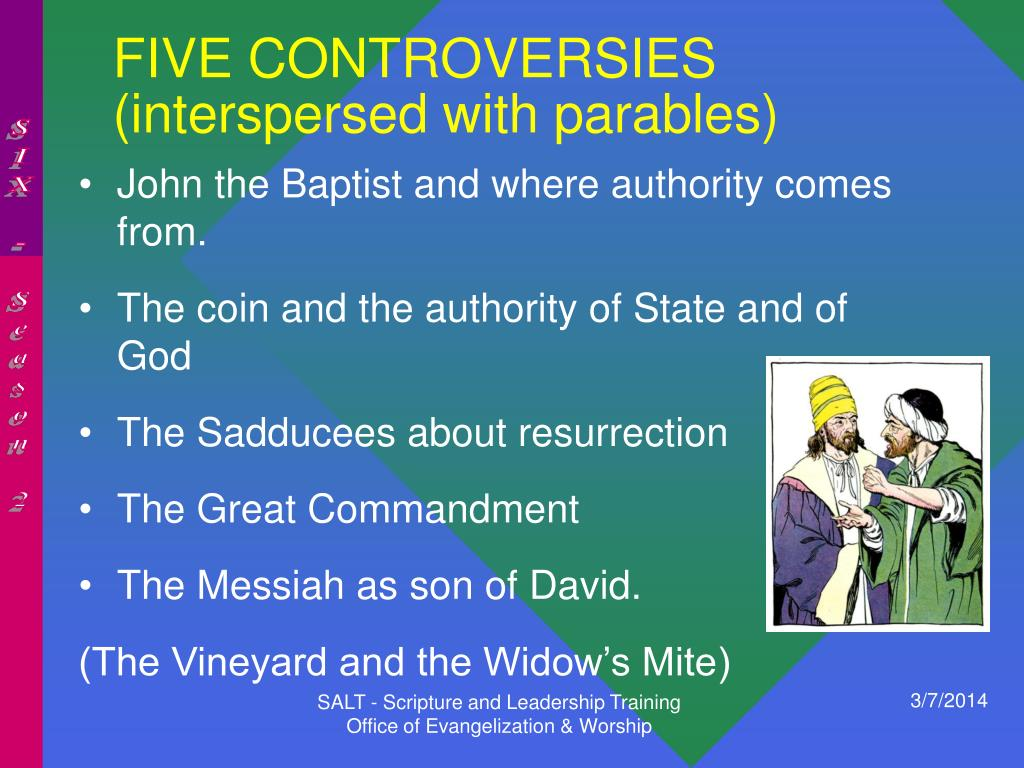 FIVE CONTROVERSIES (interspersed with parables)