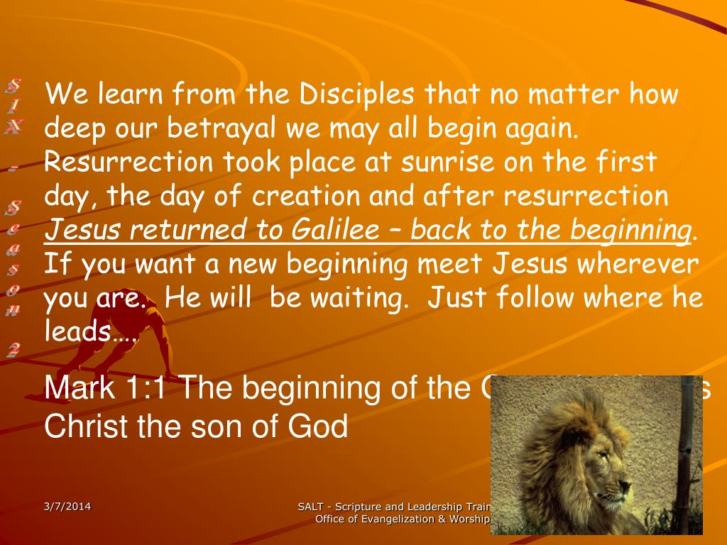 We learn from the Disciples that no matter how deep our betrayal we may all begin again.  Resurrection took place at sunrise on the first day, the day of creation and after resurrection