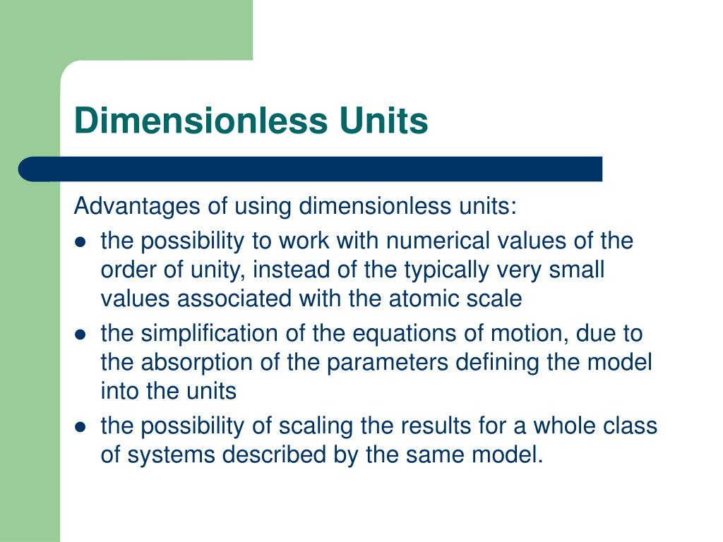 Dimensionless Units