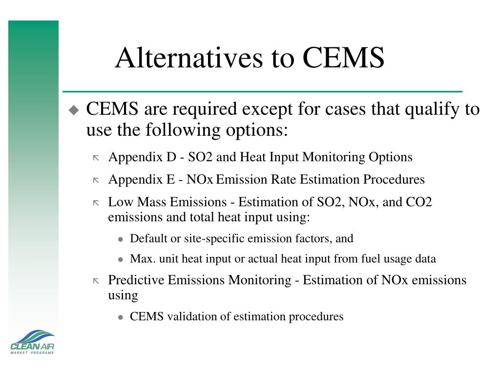 Alternatives to CEMS