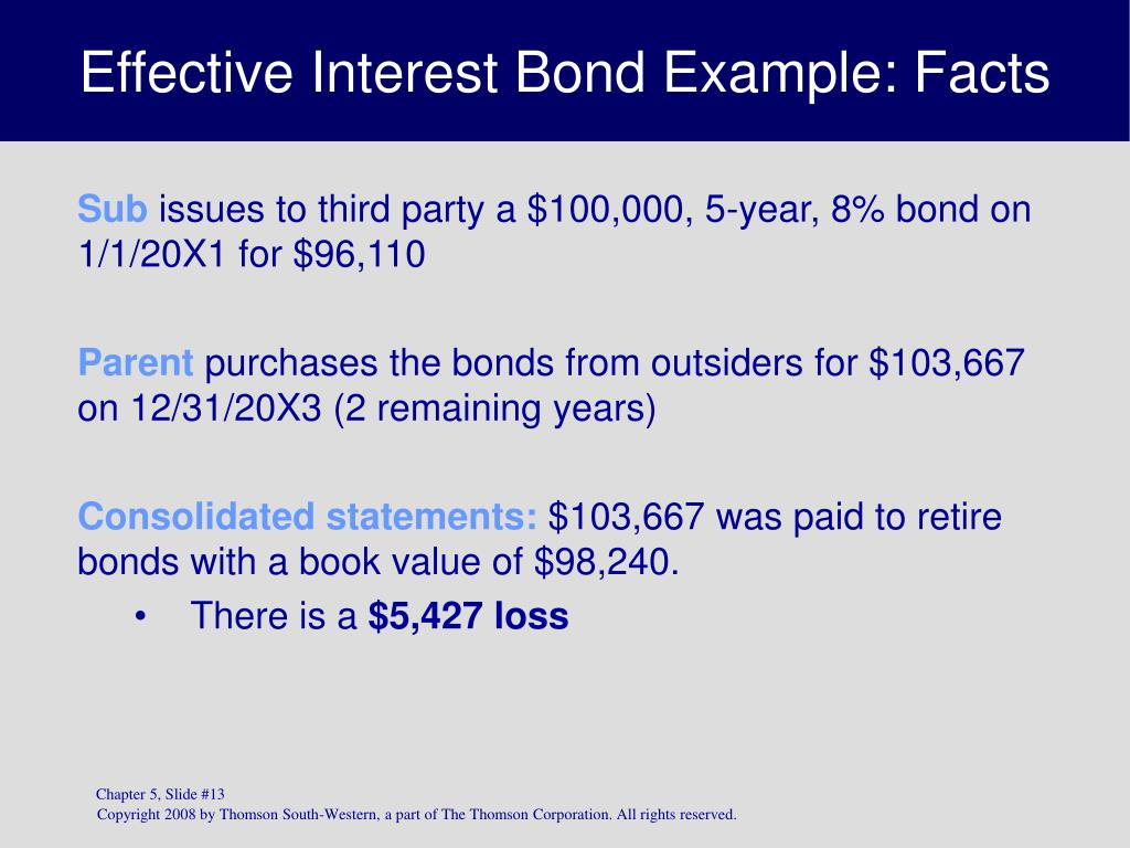 Effective Interest Bond Example: Facts