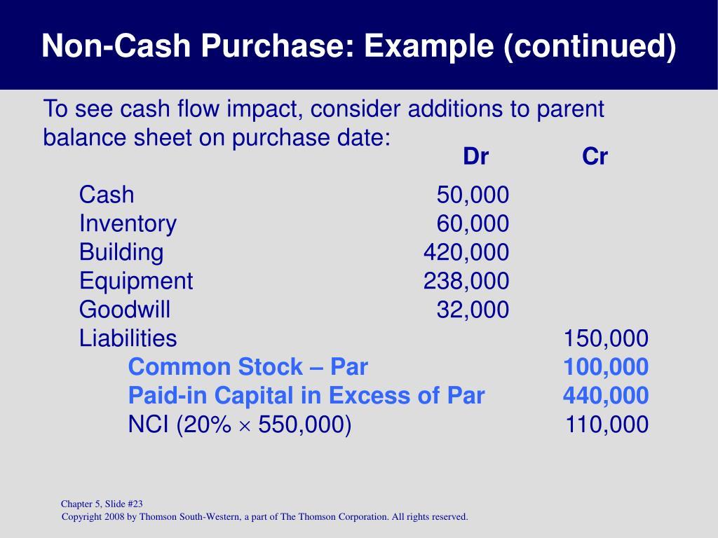 Non-Cash Purchase: