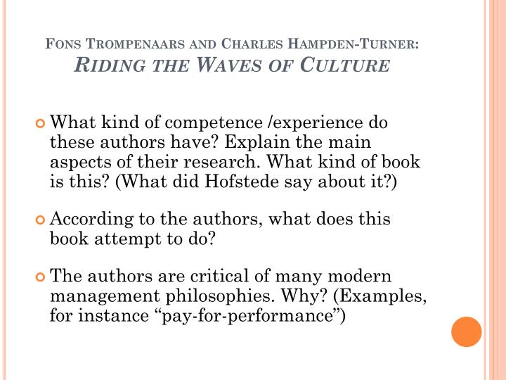 Fons trompenaars and charles hampden turner riding the waves of culture