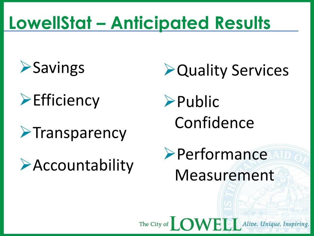 LowellStat – Anticipated Results
