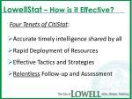 lowellstat how is it effective