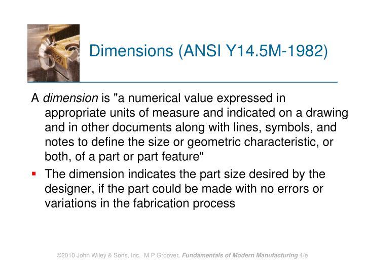 Dimensions ansi y14 5m 1982