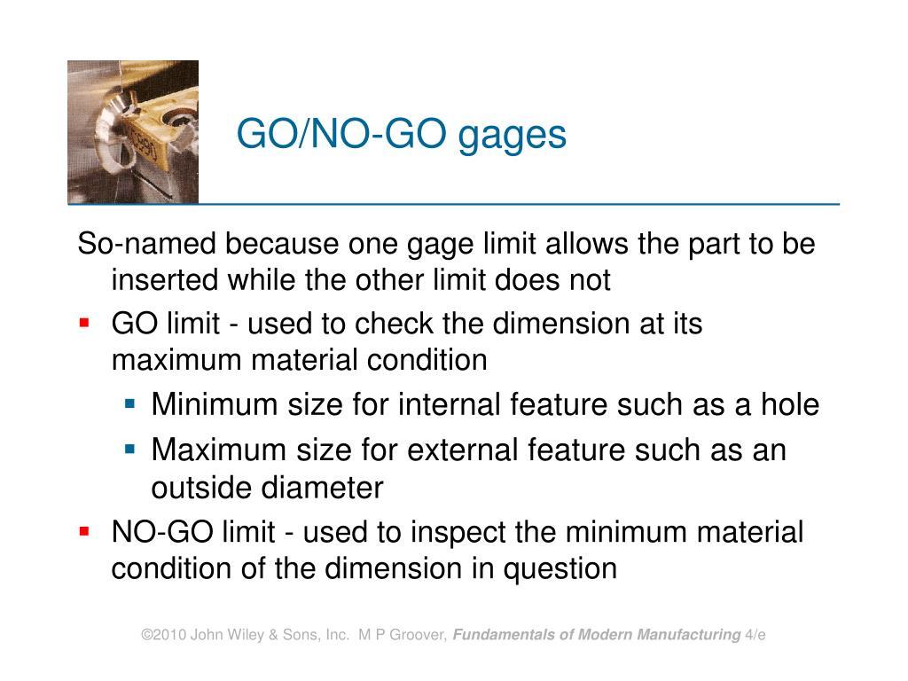 GO/NO‑GO gages