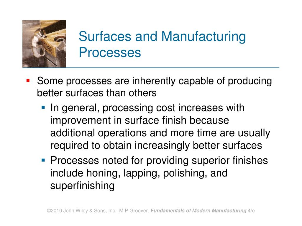 Surfaces and Manufacturing Processes