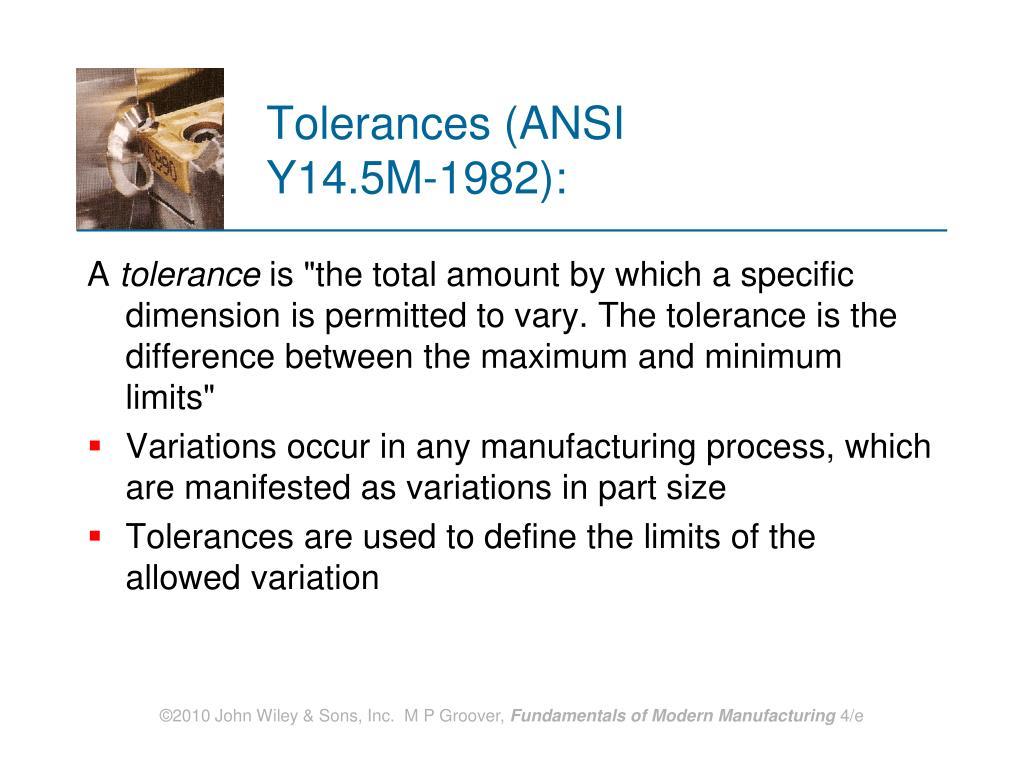 Tolerances (ANSI Y14.5M‑1982):