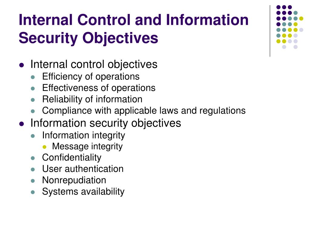 Internal Control and Information Security Objectives
