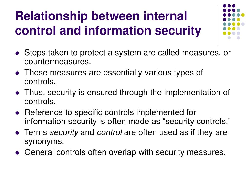 Relationship between internal control and information security