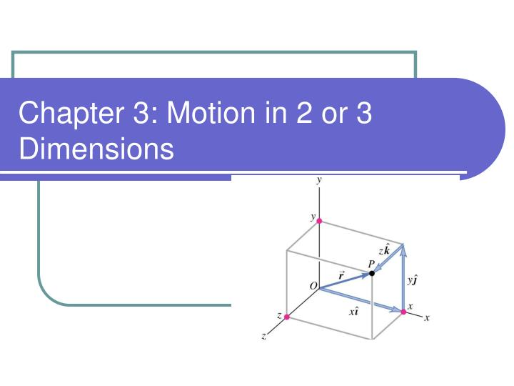 Chapter 3 motion in 2 or 3 dimensions