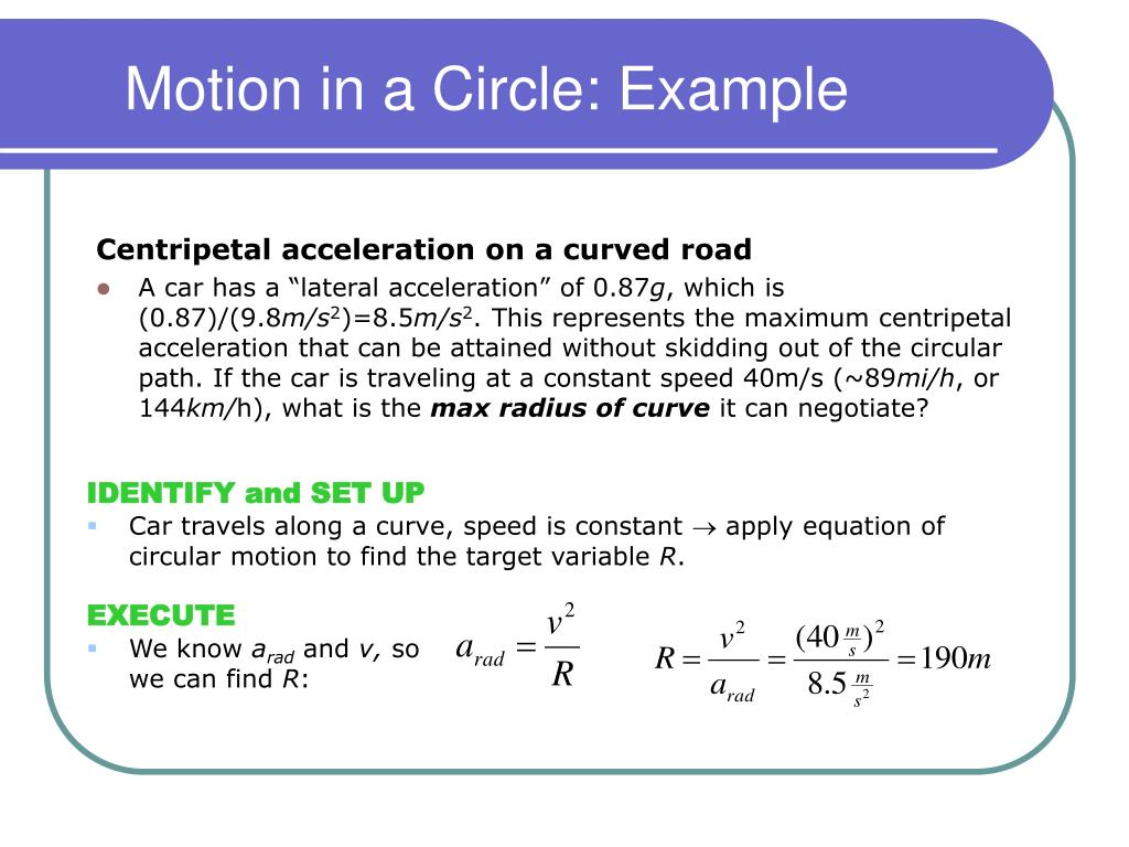 Motion in a Circle: Example