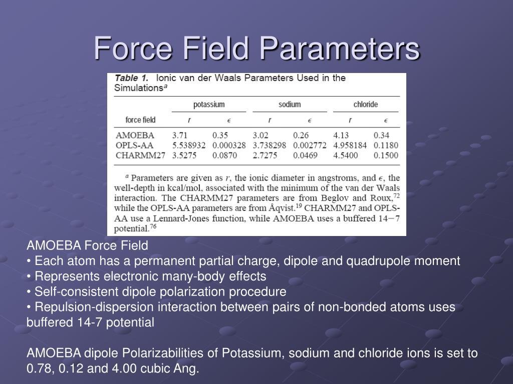 Force Field Parameters