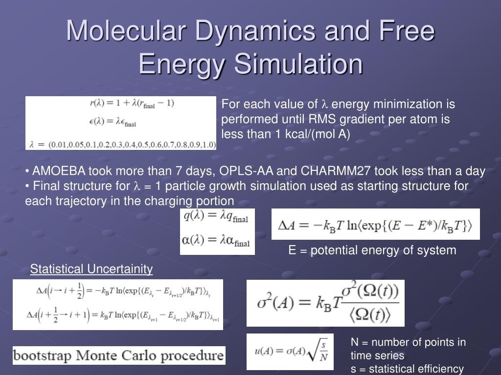 Molecular Dynamics and Free Energy Simulation