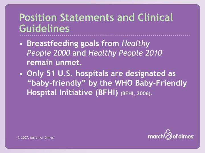 Position statements and clinical guidelines