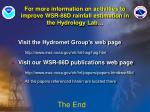 for more information on activities to improve wsr 88d rainfall estimation in the hydrology lab