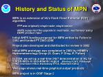 history and status of mpn