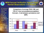 mpn forecast verification against radar rainfall observations 1 hr rainfall