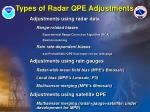 types of radar qpe adjustments