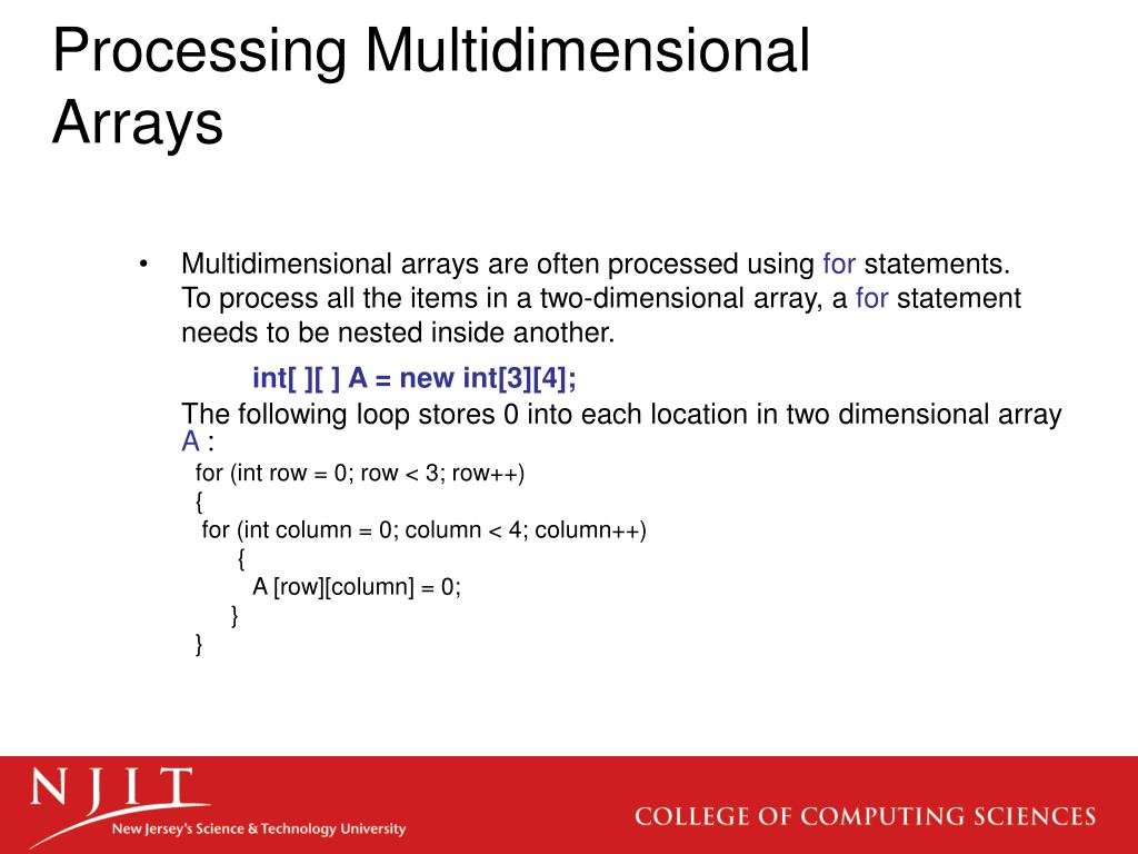 Processing Multidimensional Arrays