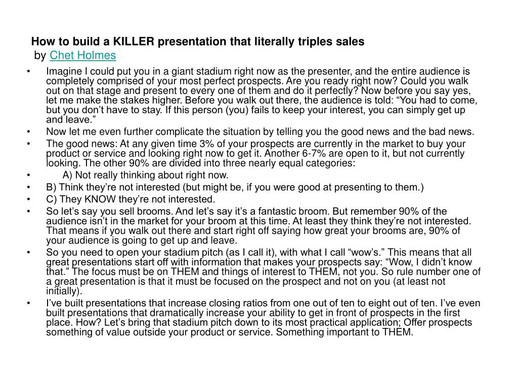 how to build a killer presentation that literally triples sales by chet holmes l.