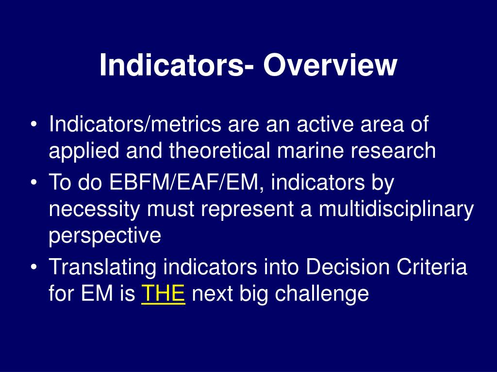 Indicators- Overview