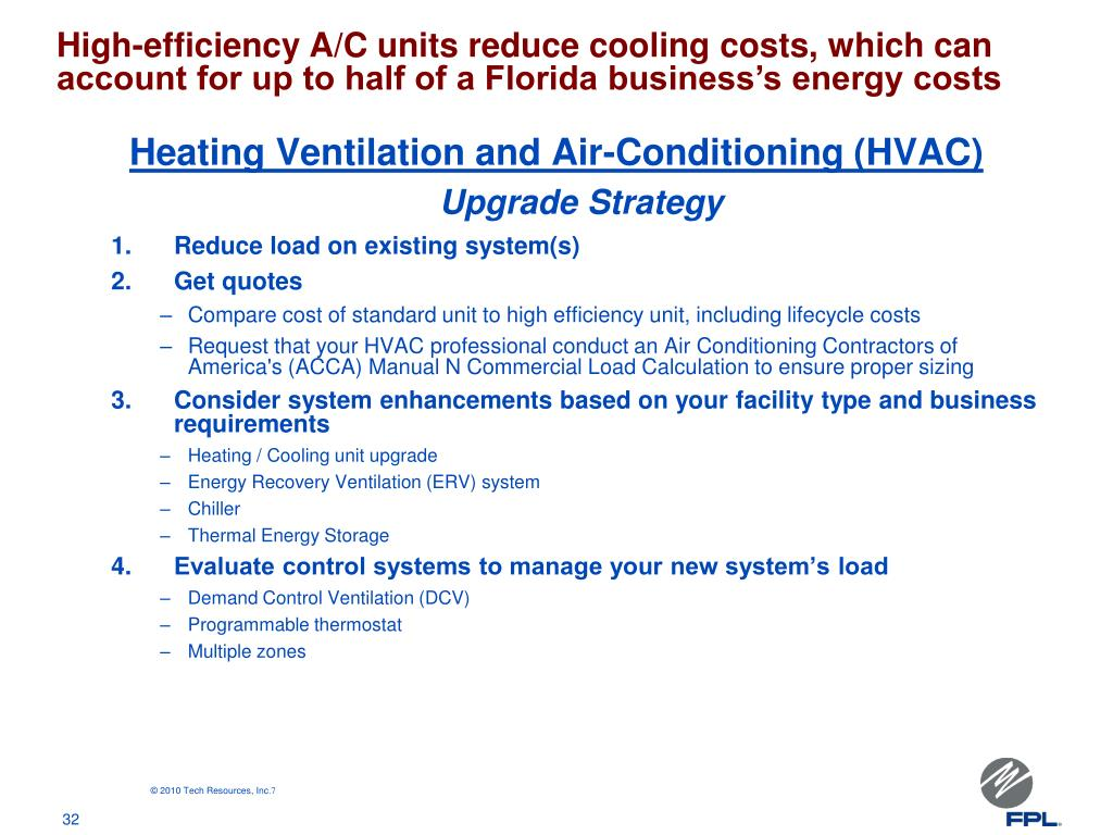 High-efficiency A/C units reduce cooling costs, which can account for up to half of a Florida business's energy costs