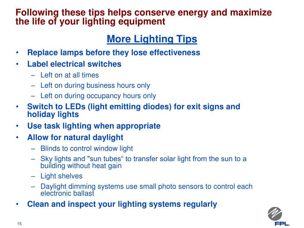 More Lighting Tips