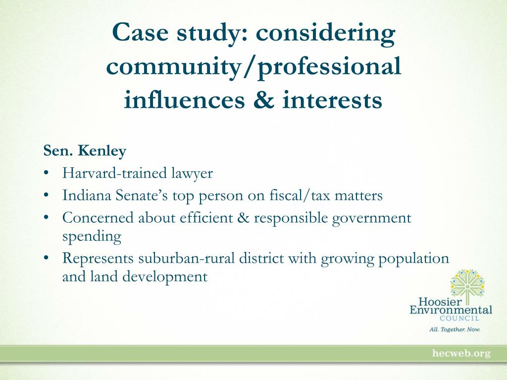 Case study: considering community/professional influences & interests