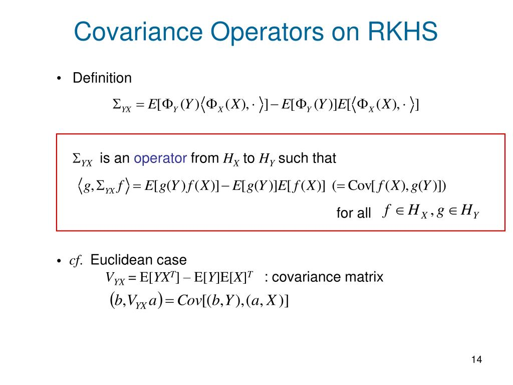 Covariance Operators on RKHS