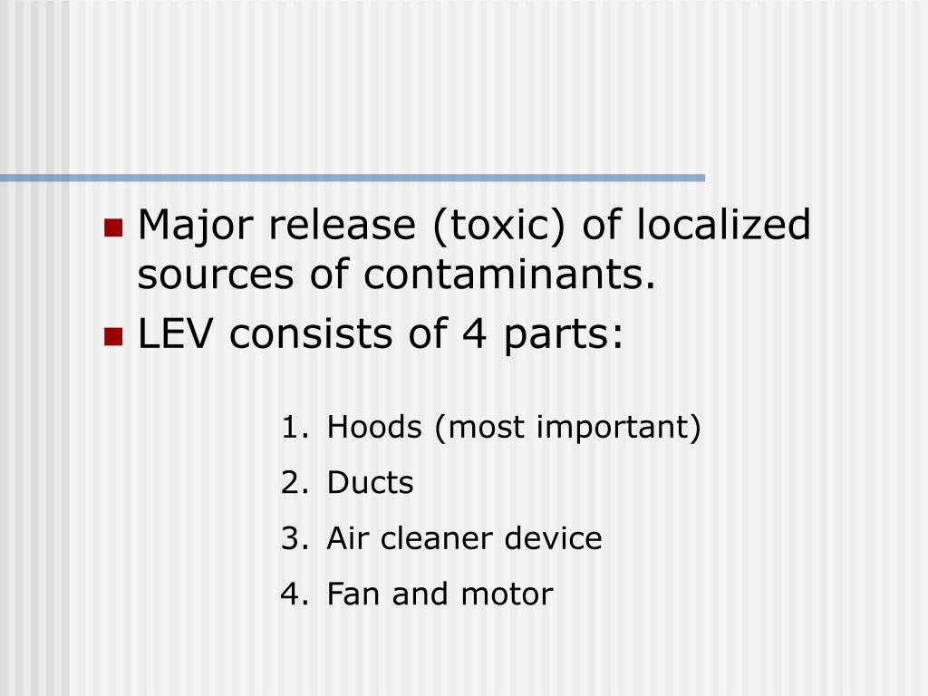 Major release (toxic) of localized sources of contaminants.