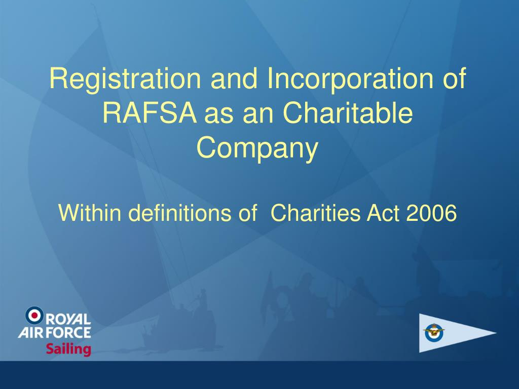 Registration and Incorporation of RAFSA as an Charitable Company
