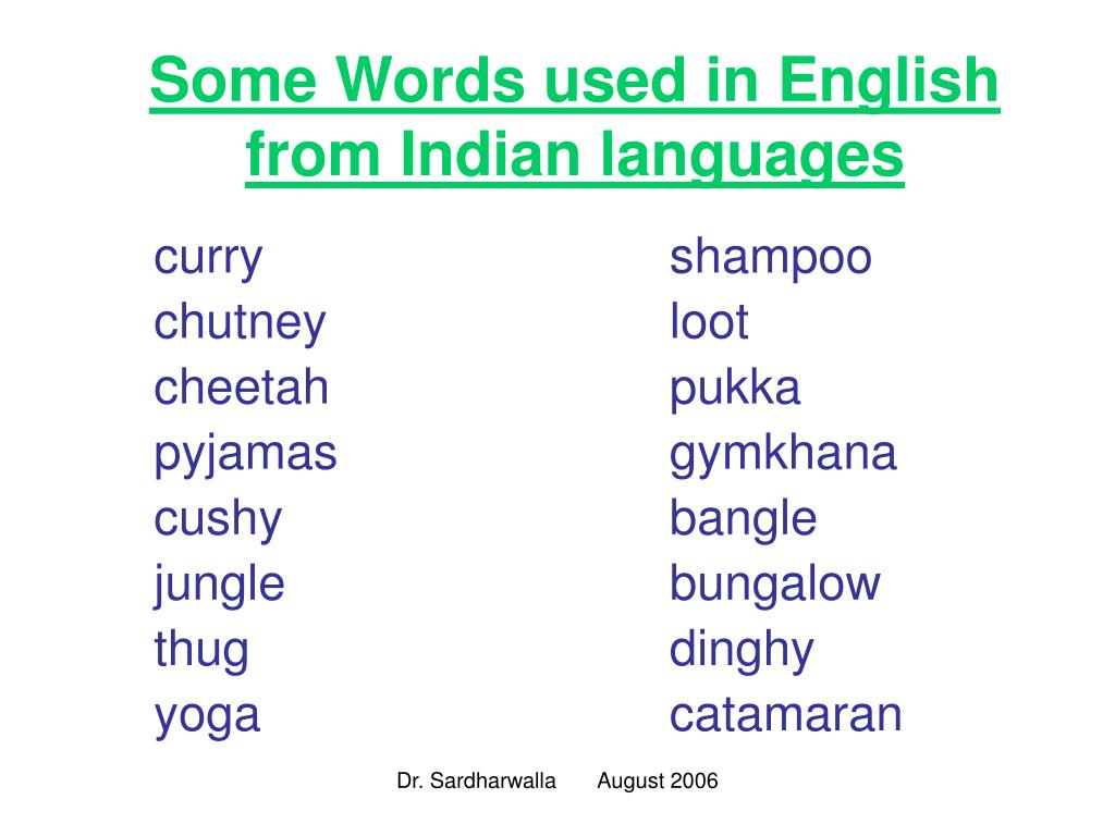 Some Words used in English