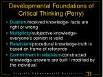 developmental foundations of critical thinking perry