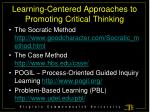 learning centered approaches to promoting critical thinking