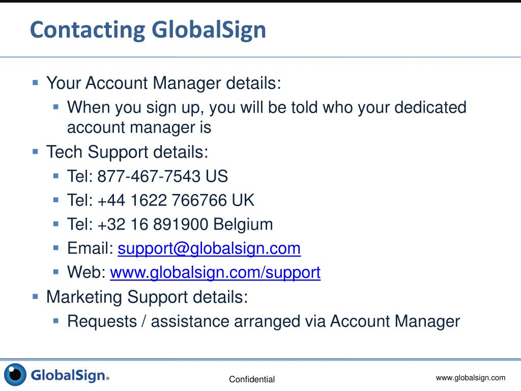 Contacting GlobalSign