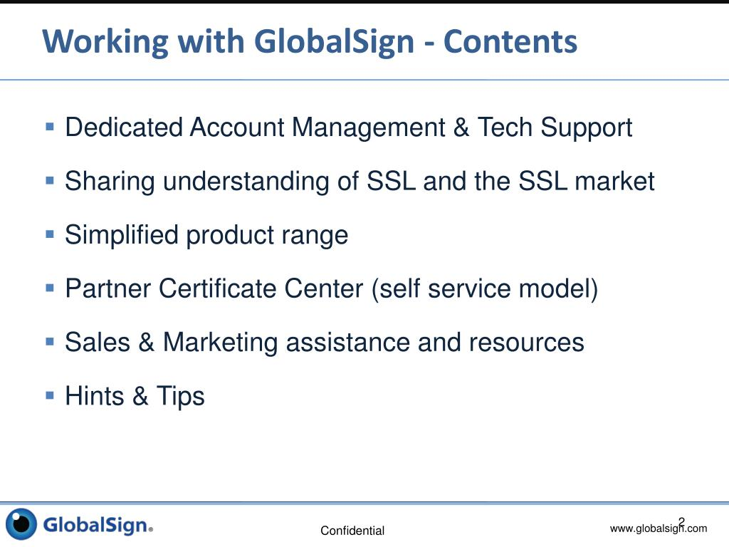 Working with GlobalSign - Contents