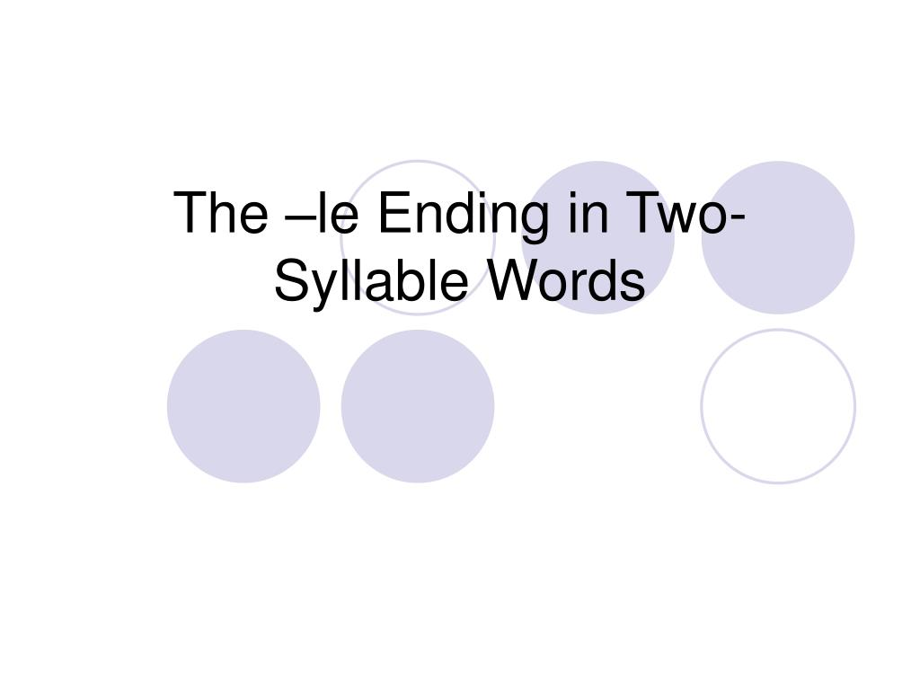 the le ending in two syllable words l.