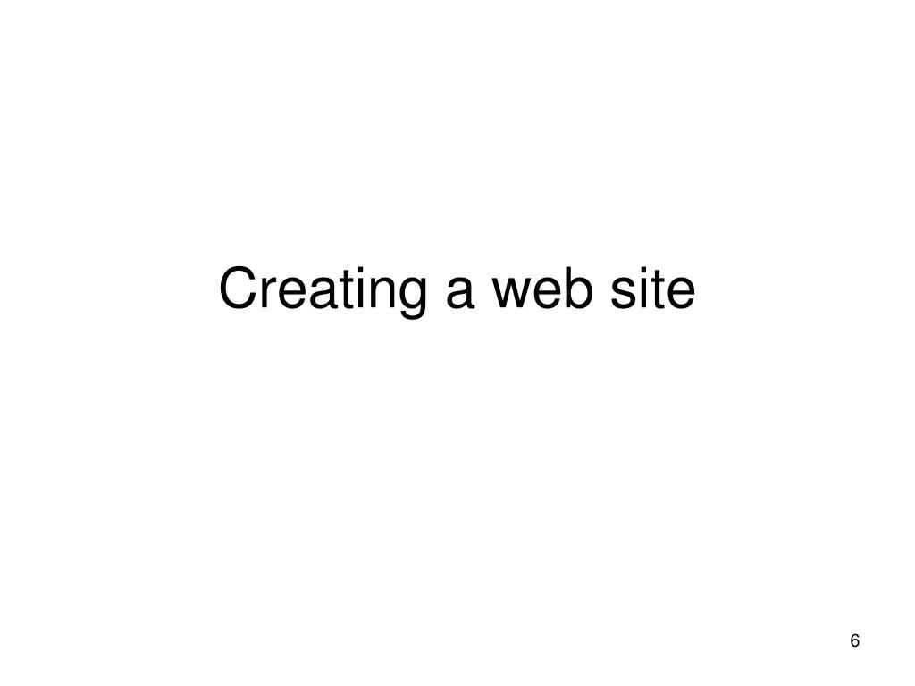 Creating a web site
