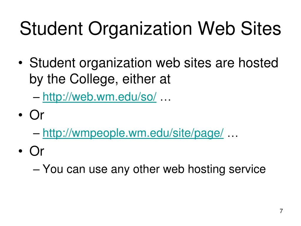 Student Organization Web Sites