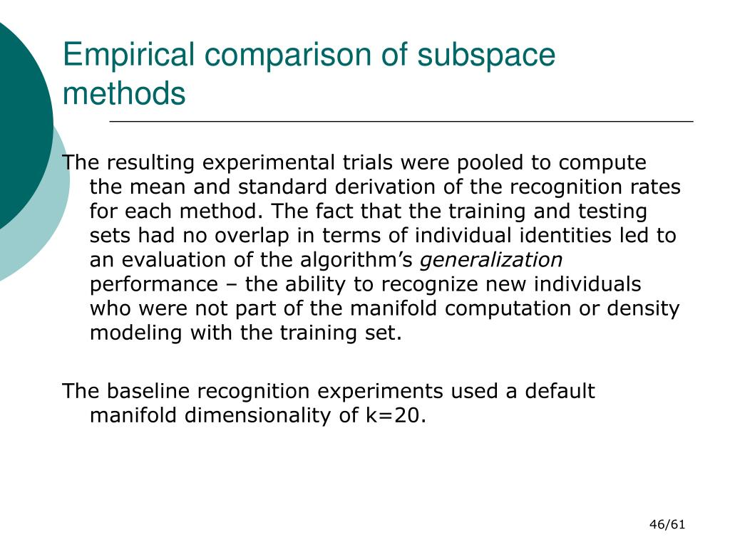 Empirical comparison of subspace methods