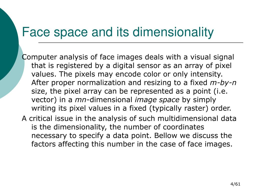 Face space and its dimensionality