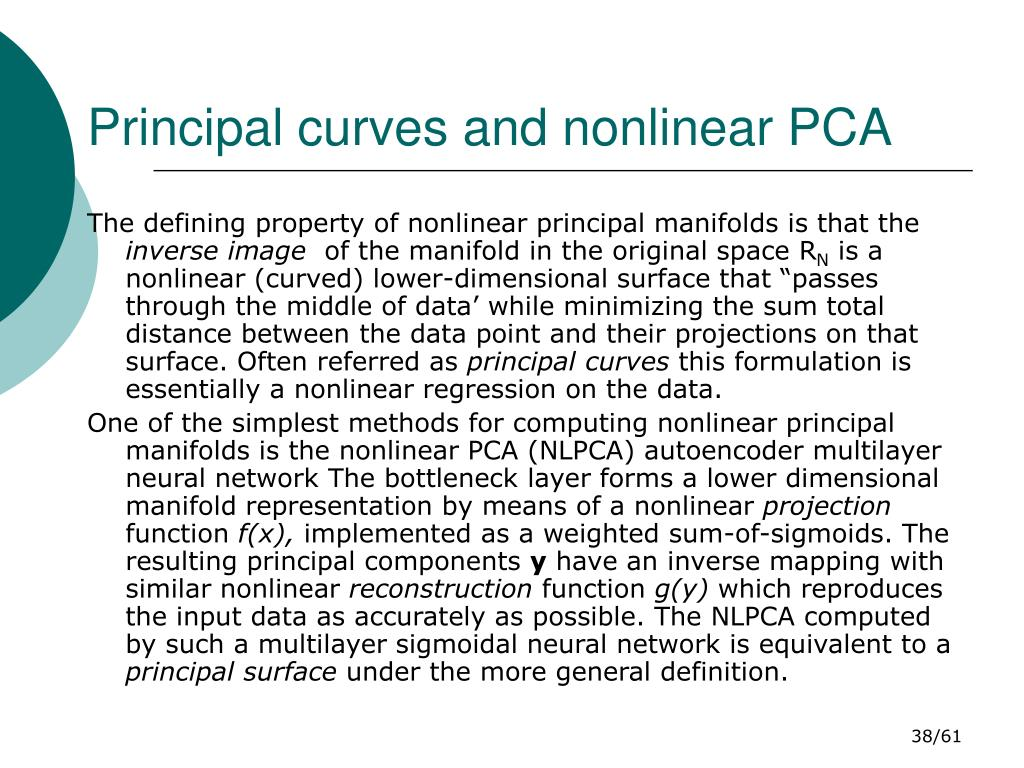 Principal curves and nonlinear PCA