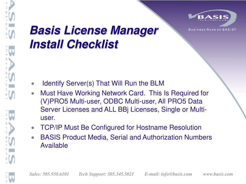 Basis License Manager