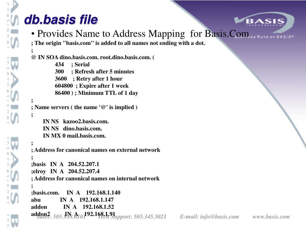 Provides Name to Address Mapping  for Basis.Com