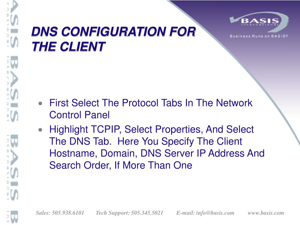 DNS CONFIGURATION FOR